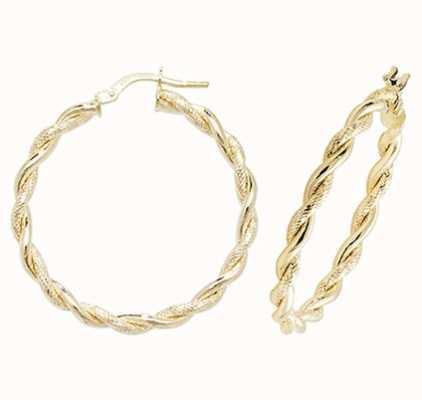 Treasure House 9k Yellow Gold Hoop Earrings 25 mm ER1045-25