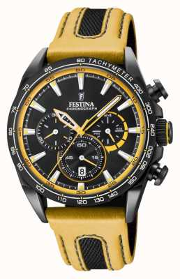 Festina Mens Black PVD Plated Chrono Watch Leather Strap F20351/4