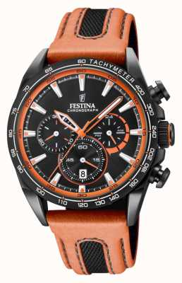 Festina Mens Black PVD Plated Chrono Watch Leather Strap F20351/5
