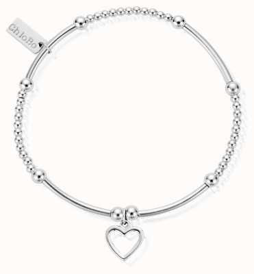 ChloBo Sterling Silver Cute Mini Open Heart Bracelet SBCM007