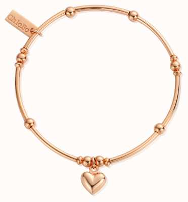 ChloBo Rose Gold Plated Mini Noodle Puffed Heart RBMN065