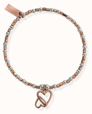 ChloBo Rose And Silver Interlocking Love Heart Braclet MBCFB573