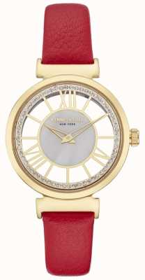 Kenneth Cole Womesn Gold Silver Dial Red Leather Strap KC50189001