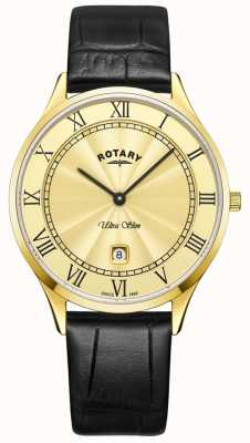 Rotary Mens Ultra Slim Black Leather Strap Watch GS08303/03