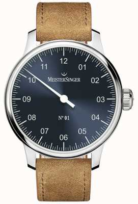MeisterSinger No. 1 40mm And Wound Sellita Suede Cognac Strap DM317