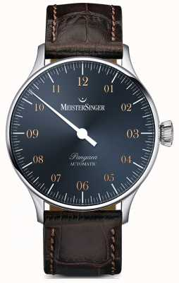 MeisterSinger Pangaea Automatic Steel Blue Dial Dark Brown Croc Print PM917G