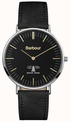 Barbour Mens Hartley Black Leather Strap Black Dial BB055BKBK