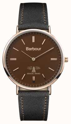 Barbour Mens Hartley Black Leather Strap Brown Dial BB055BRBK