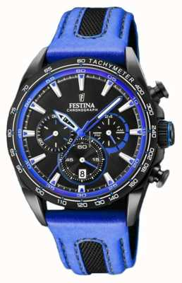 Festina Mens Sport Chronograph Blue Leather Strap Black Dial F20351/2