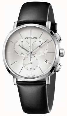 Calvin Klein Mens Black Leather Silver Dial Watch K8Q371C6