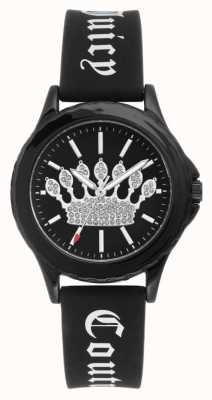 Juicy Couture Womens Black Silicone Strap Watch Black Crown Dial JC-1001BKBK