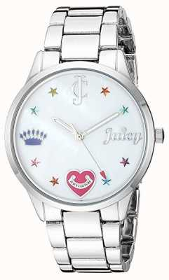 Juicy Couture Womens Silver Steel Bracelet Watch With Coloured Markers JC-1017MPSV