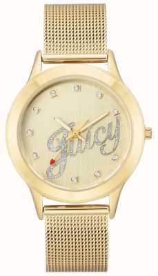 Juicy Couture Womens Gold Tone Mesh Bracelet Juicy Script Watch JC-1032CHGB
