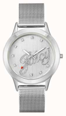 Juicy Couture Womens Silver Tone Mesh Bracelet Juicy Script Watch JC-1033SVSV