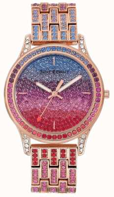 Juicy Couture Womens Glitter Watch With Rose Gold Tone Steel Bracelet JC-1044MTRG