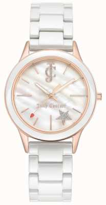 Juicy Couture Womens White Bracelet White Dial Rose Gold Tone Case JC-1048WTRG