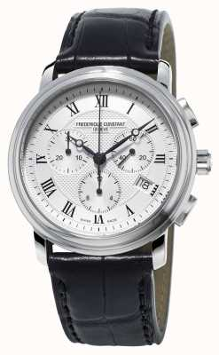 Frederique Constant Mens Classics Chronograph Black Leather Strap FC-292MC4P6