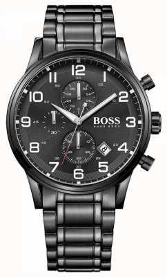 Hugo Boss Mens Aeroliner Black Chronograph Watch 1513180