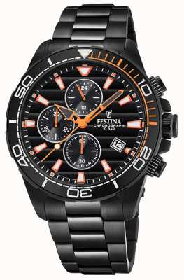 Festina Mens Black PVD Plated Bracelet Black Chrono Dial Watch F20365/1