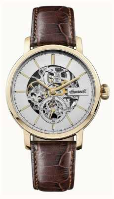 Ingersoll Mens The Smith Automatic Silver Dial Brown Leather Strap I05704