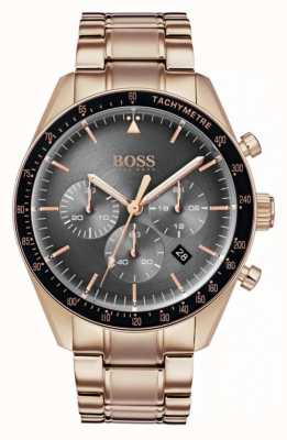 Hugo Boss Mens Trophy Watch Grey Chronograph Dial Rose Gold Tone 1513632