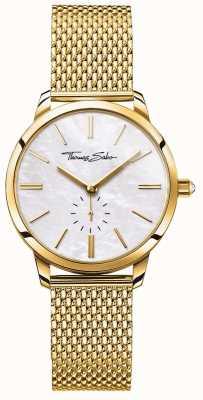 Thomas Sabo Womens Glam Spirit Gold Tone Mesh Bracelet White Dial WA0302-264-213-33