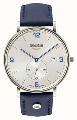 Bruno Sohnle Mens Frankfurt Big Silver Dial Blue Leather Strap 17-13187-263