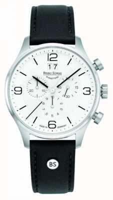 Bruno Sohnle Mens Padua 42mm Chronograph White Dial Black Leather Strap 17-13196-921