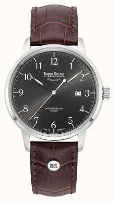 Bruno Sohnle Mens Hamburg Big Quartz Grey Dial Brown Leather Strap 17-13201-821