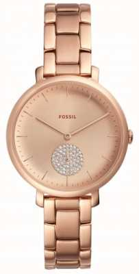 Fossil Womens Jaqueline Rose Gold Tone Bracelet Watch Simple Dial ES4438