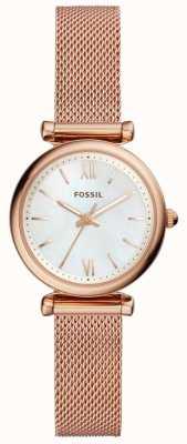 Fossil Womens Mini Carlie Rose Gold Tone Mesh Bracelet Watch ES4433
