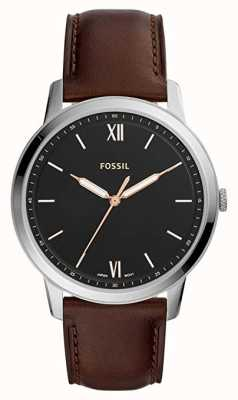 Fossil Mens The Minimalist Watch Black Dial Brown Leather Strap FS5464