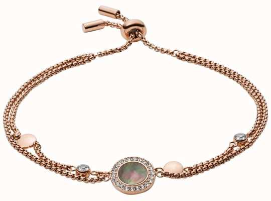 Fossil Womens Rose Gold Tone Grey Mother Of Pearl Bracelet JF02951791