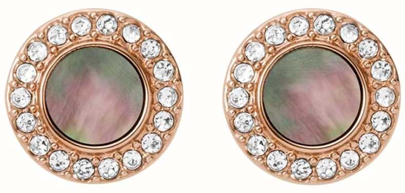 Fossil Womens Rose Gold Tone Grey Mother Of Pearl Earrings JF02949791
