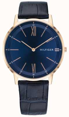 Tommy Hilfiger Mens Cooper Watch Blue Leather Strap Rose Gold Tone Case 1791515