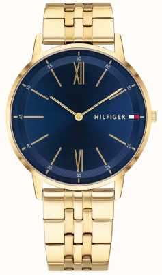 Tommy Hilfiger Men's Cooper Watch Gold Tone Bracelet Blue Dial 1791513