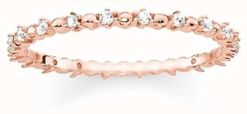 Thomas Sabo Sterling Silver Rose Gold Plated Ring With White Zirconia 54 TR2153-416-14-54