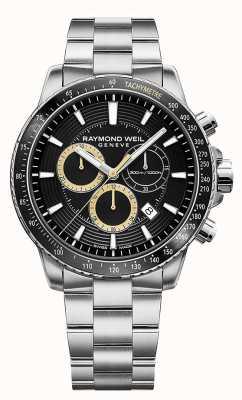 Raymond Weil Mens Tango 300 Watch Stainless Steel Bracelet Black Chrono 8570-ST1-20701