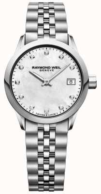 Raymond Weil Womens Freelancer Mother Of Pearl Dial Diamond Watch 5626-ST-97081