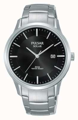 Pulsar Mens Stainless Steel Case And Bracelet Solar Black Dial PX3161X1