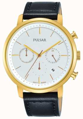 Pulsar Men's Gold Plated Case Black Leather Strap Dated Chronograph PT3938X1
