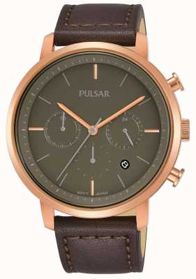 Pulsar Mens Rose Gold Plated Case Brown Leather Strap PT3940X1