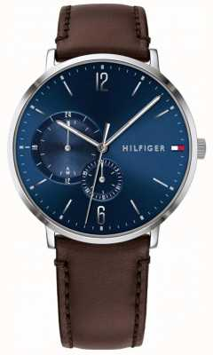 Tommy Hilfiger Mens Blue Dial Brown Leather Strap 1791508