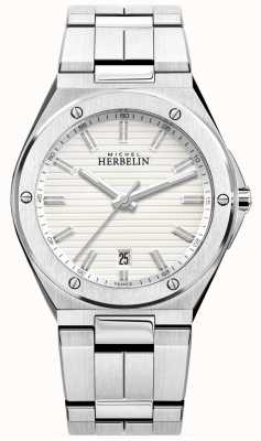 Michel Herbelin Men's Stainless Steel Bracelet White Watch 12245/B12