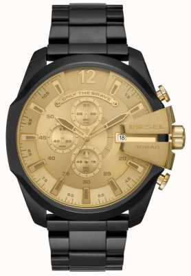 Diesel Mens Mega Chief Black Ion Plated Steel Bracelet Gold Dial DZ4485