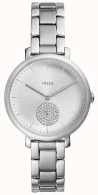 Fossil Womens Jacqueline Stainless Steel Silver Crystal Watch ES4437