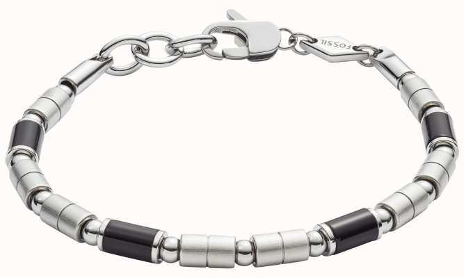 Fossil Mens Stainless Steel Black Agate Bracelet JF02924040
