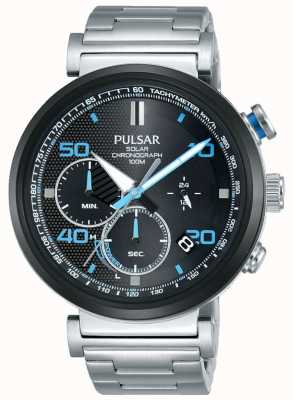 Pulsar Mens Stainless Steel Solar Chronograph Watch PZ5065X1