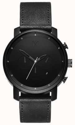 MVMT Mens Chrono 45mm Black Leather MC01BL