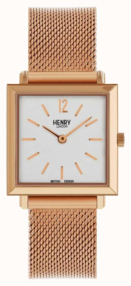 09d209fceb2 Henry London Heritage Womens Petite Square Watch Rose Gold Mesh HL26 ...